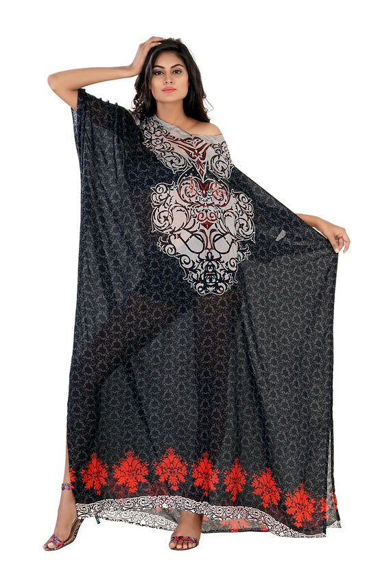 Hi end beach cover up beaded long silk kaftans for woman in sale  219