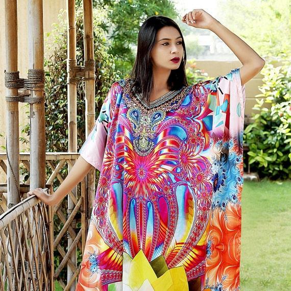 103 beaded look beach caftan wear New Silk amp; kaftan embroider kaftan feel crystal 0Z0Tq7nHw