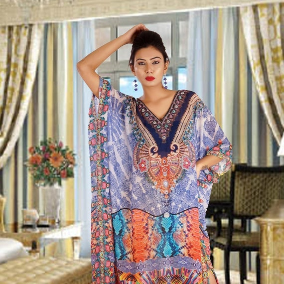 Hi end beach cover up beaded long silk kaftans for woman in sale 253