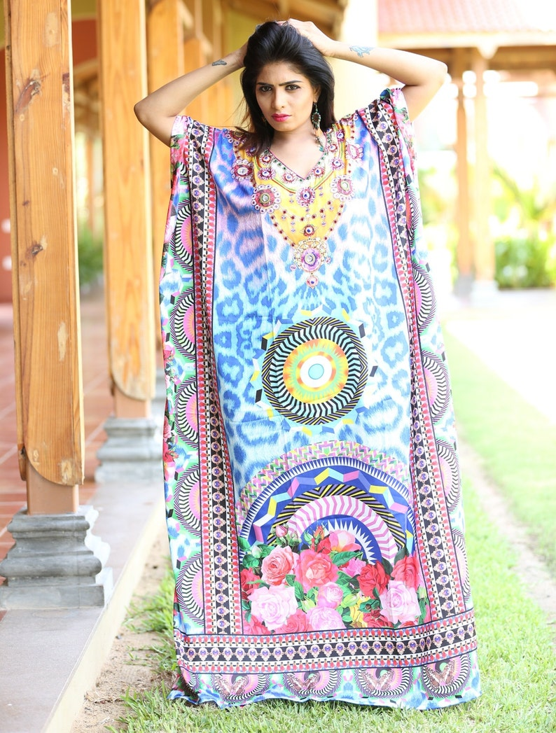 New Silk kaftan look /& feel embroider crystal beaded kaftan beach wear caftan 100