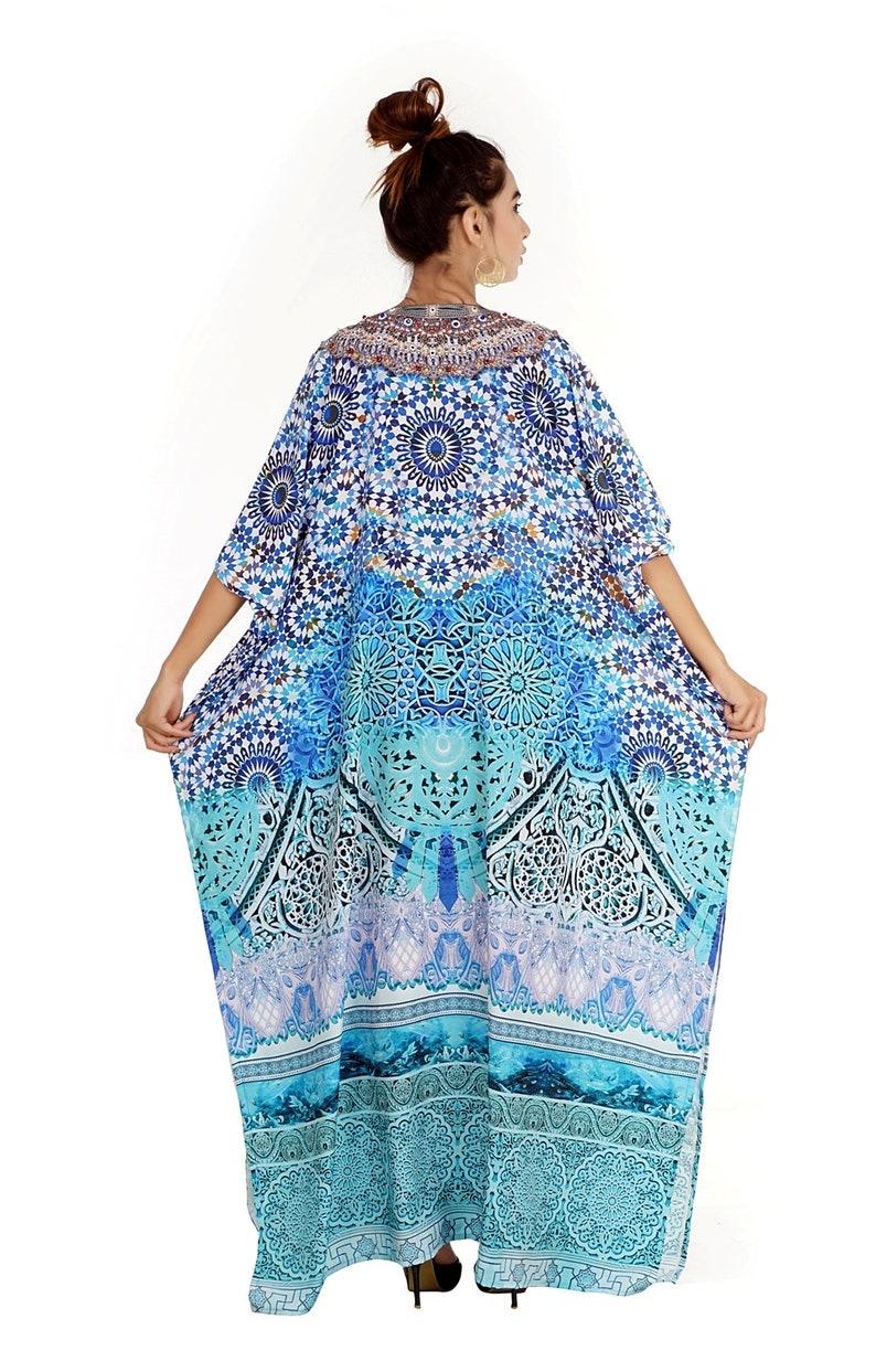 New Silk kaftan look /& feel embroider crystal beaded kaftan beach wear caftan 51