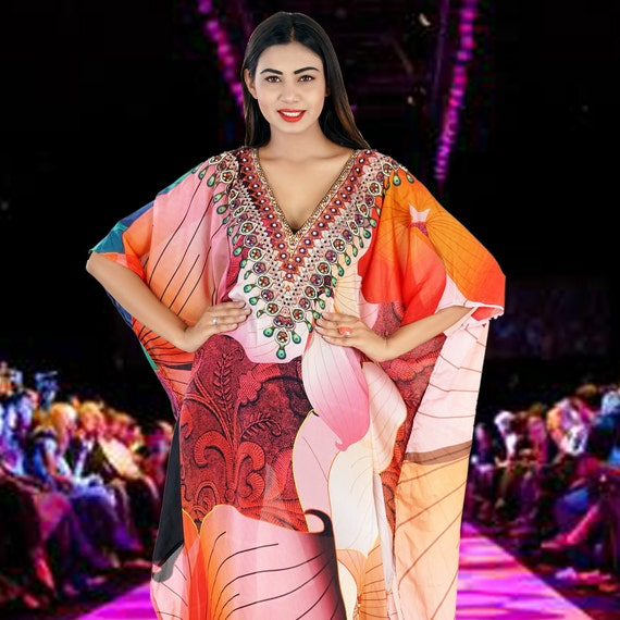 Womens Kaftan Long Dress Silk Kaftan Resort Wear Maxi Caftans Beach Wear Cover Up One Piece Jeweled Online Abaya Dress 190