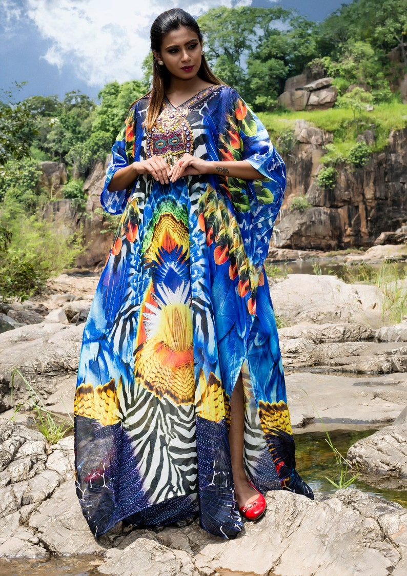 Attractive Feathers print featuring zebra patches with multicolored embellishments on Beach Cover ups silk kaftan one piece caftan 228