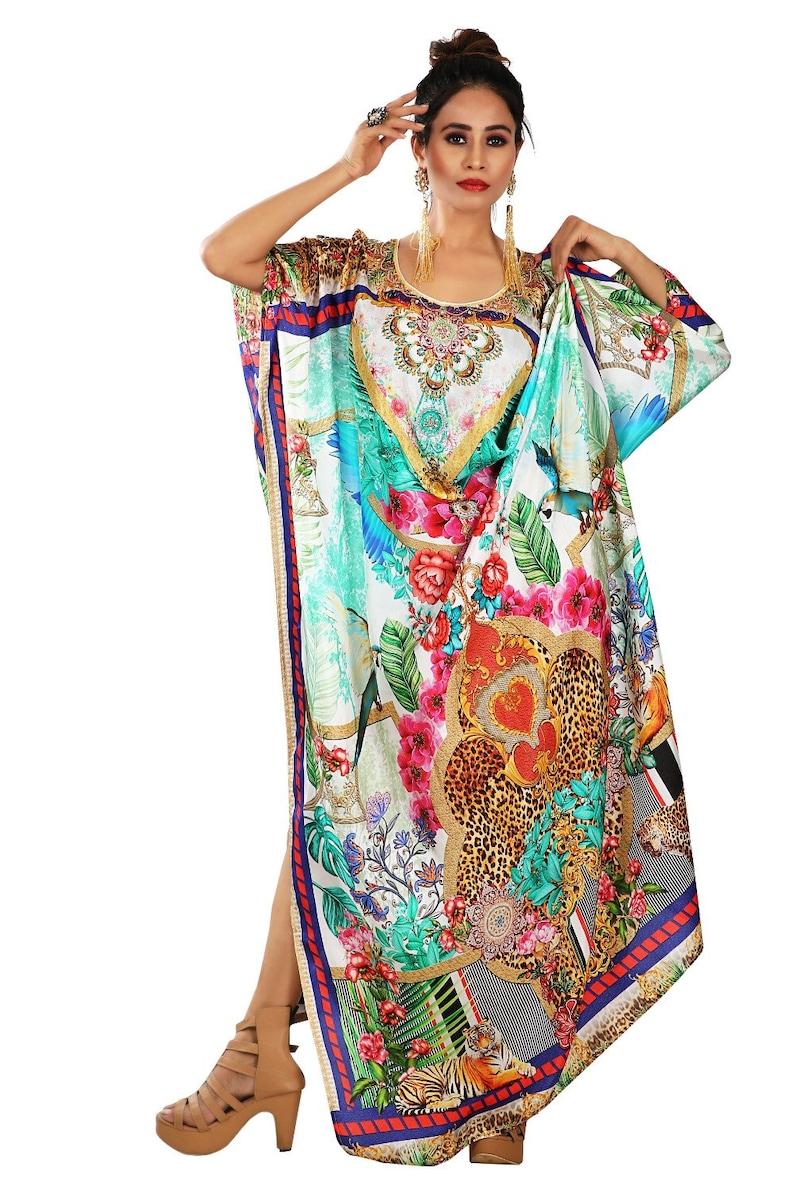 Beach cover up kaftan Heavily embellished kaftan Embroidered kaftan Plus size long kaftan Resort wear kaftan Animal print kaftan silk dress