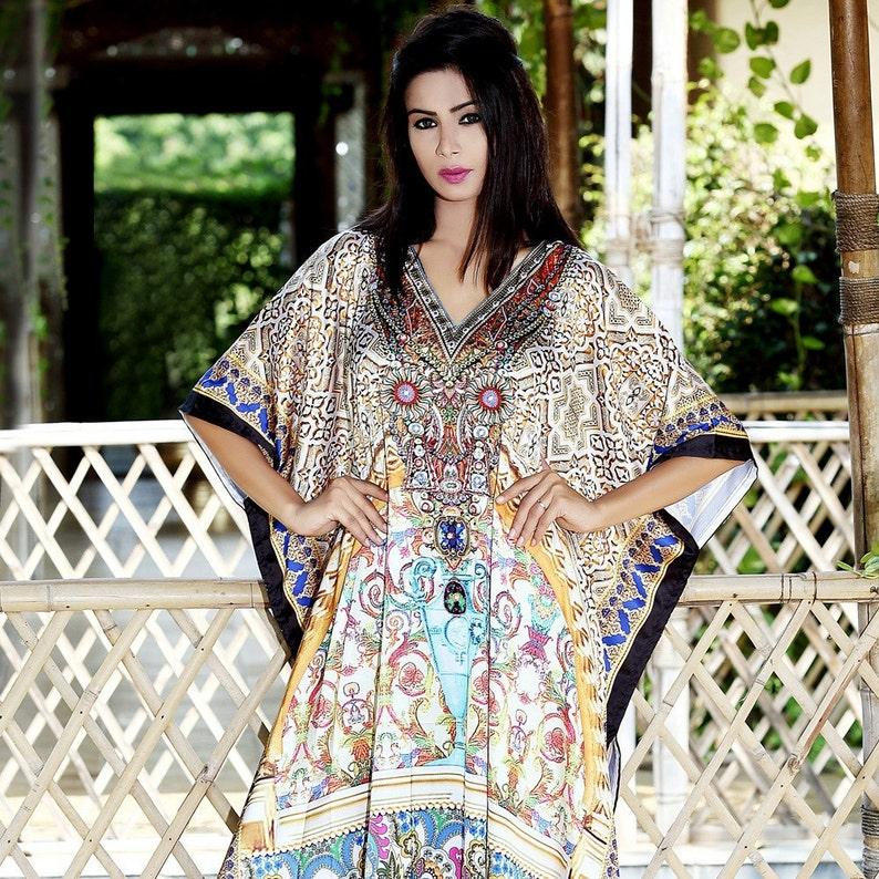 Vintage Style Long Silk Kaftan Dress With Mixed Prints luxury resort wear kaftan for women 99S
