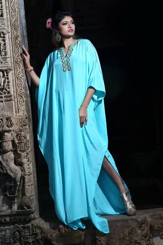 Caftan crepe Embellished 100 Dress gown Kaftan New Wedding Silk p6SRq1Wpcw