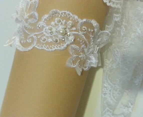 White,Ivory something blue garter crystal R//L//XL Wedding Garter Bridal Garter
