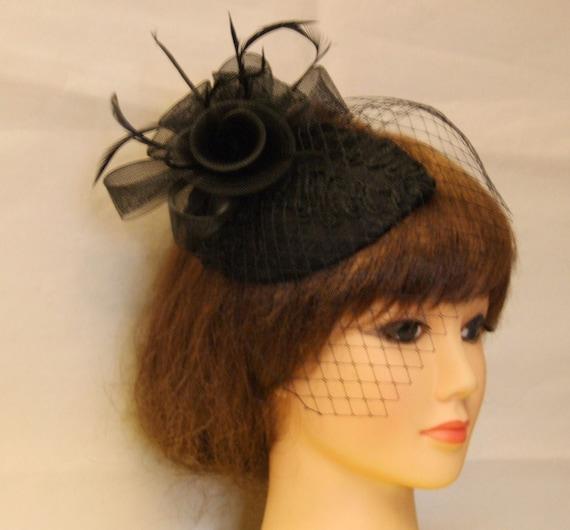 Vintage 1940s-50s Fascinator Veil Hat Black. Tear drop hat  104a84e95ea