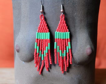 Red and Green Holiday Earrings // Native American Beaded Earrings
