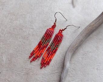 Golden Fire, Modern Native American Inspired Beaded Earrings