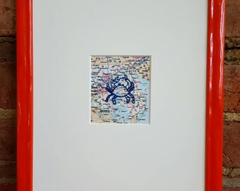 """Hand Stitched Maryland Blue Crab Map 8""""x10"""""""