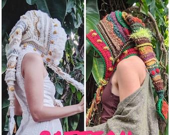 PATTERN: Fae Elf Hood / Long Hood / Freeform crochet / Crochet hat / PDF download