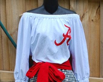 49f6c39e849 Univ of Alabama Crimson Tide Off Shoulder Game Day Romper Jumper Jumpsuit  Sash Upcycled T-Shirts XS