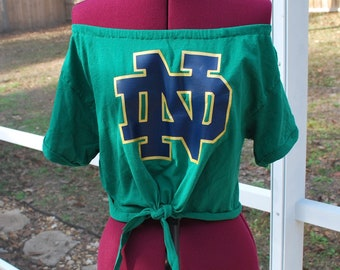 outlet store 0ed99 2626a Notre Dame Fighting Irish Cropped Off Shoulder Tie Waist Upcycled Womens  Top Shirt Size XS, S, M, L, XL
