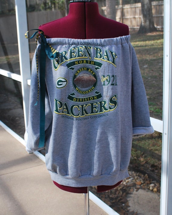 dd6db09a188c Green Bay Packers Upcycled Sweatshirt Off Shoulder One