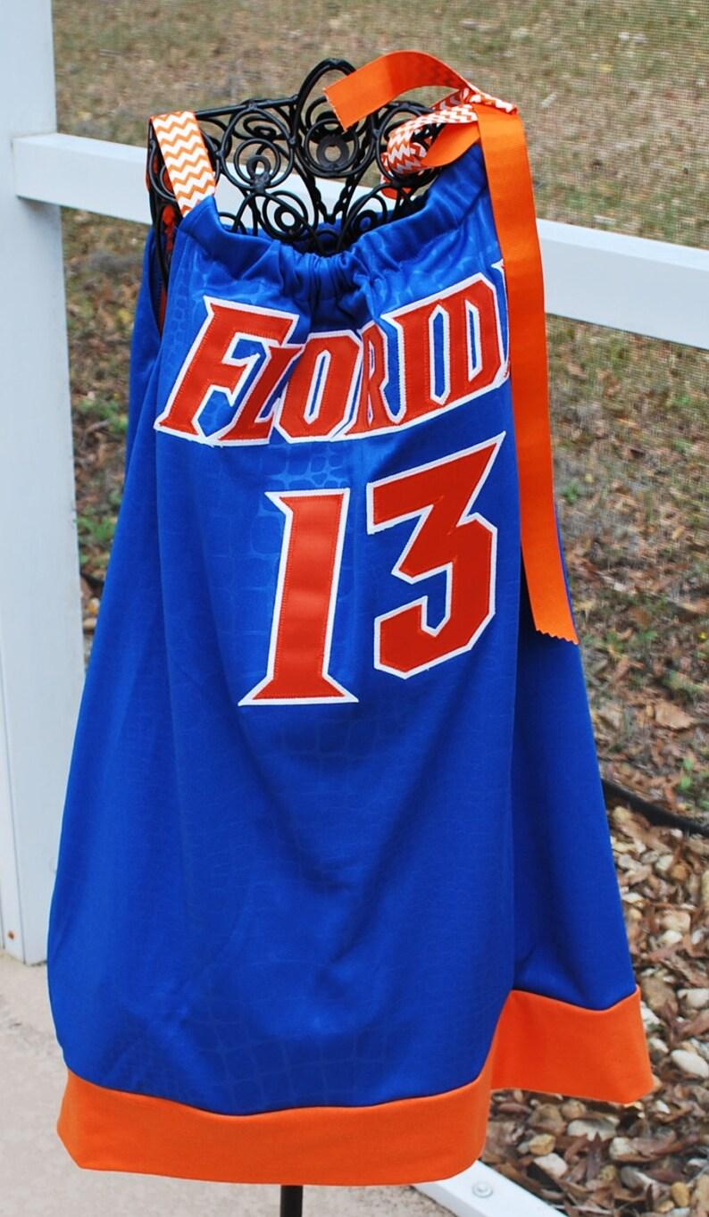 pretty nice 9ad3a 698f7 University of Florida Gators Basketball Jersey Girls Kids Pillow Case Dress  with Ribbon Game Day Upcycled Basketball Jersey Size 6