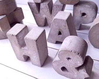 3 Concrete Letters FULL ALPHABET Free Standing Words Alphabet Home Decor Cement Rustic Industrial