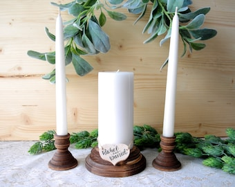 Personalized Wood Unity Candle Holder Set Rustic Unity Candle Holders Wedding Unity Candle Unity Ceremony Wooden Unity Candle Set