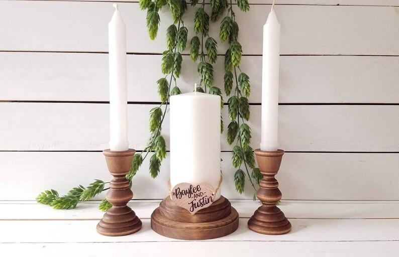 Wood Unity Candle Holder Set Rustic Unity Candle Holders image 0