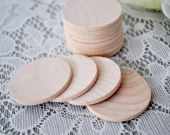 """50 ct 1.5"""" INCH Wood Circles Discs Natural Wooden Medium Sized Coins Wedding Craft Circles Favors 1.5"""" circles 1 1/2"""" wood circles"""