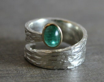 Emerald 18kt Gold Sterling Silver Ring - Statement Ring - Mixed Metal Ring- Gemstone Ring -  Handmade Ring - Textured Ring - Emerald