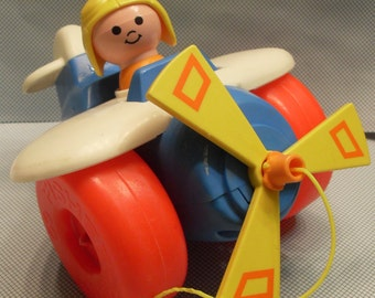 1980s Fisher Price Airplane Pull Toy