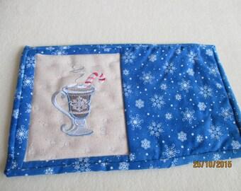 mug rug, drink, hot chocolate, machine embroidery, coaster, winter, snowflakes, home decor, gift,