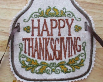 Happy Thanksgiving bottle apron, hostess gift, wine, champagne, gift, machine embroidery, kitchen decor, house warming gift,