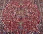 Superb 13x10 ft Vintage rug, handmade rug, handknotted rug, floral rug, wool rug, oversize rug, traditional area rug, carpet 12 39 .6 quot X 9 39 .8 quot