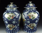Two Large Rare antique Chinese covered famille rose blue white prunus figures porcelain glaze vases pots bowls jars imari style kangxi mark