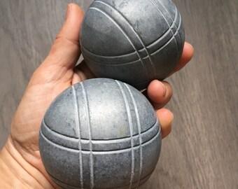 Petanque Boules - 2 Vintage Unpainted Pewter Bocce Balls, Replacement Game Balls, Sport Room Decor, Heavy Bocce Balls