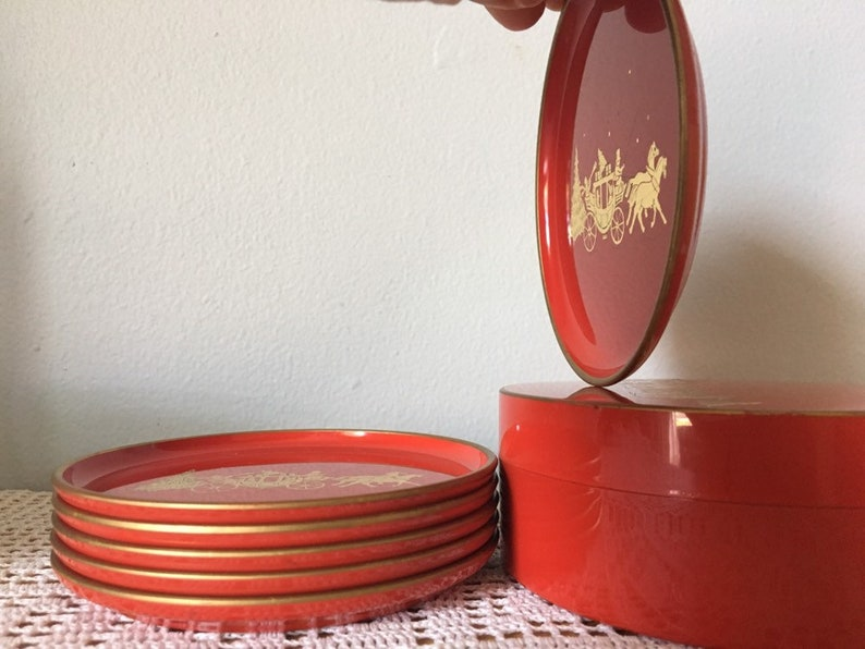 Snack Appetizer Trays Drink Tray 4 14 Red and Gold Plastic Coasters By Otagiri Japan MCM Vintage Set Of Six 6 Coasters with Storage Box
