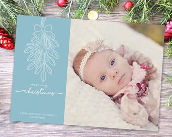Photo Christmas Card | Christmas Birth Annountment | DIY Printable or Printed+Shipped | Holiday Card | Mistletoe | Merry Christmas | Blue