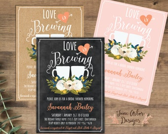 love is brewing bridal shower invitation printable pdf or printed coffee themed wedding shower kraft chalkboard envelopes included