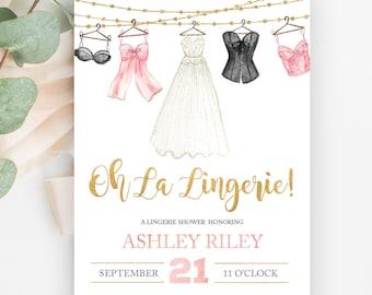 oh la lingerie lingerie shower invitation bachelorette party invite lingerie party linens and lace watercolor lingerie hens party