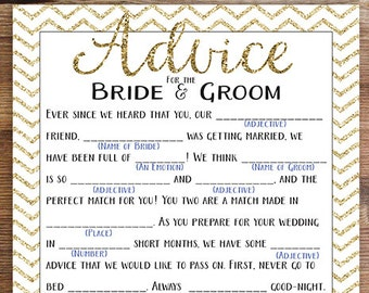 printable wedding mad lib shower game advice to the bride groom instant download gold chevron wedding shower bridal shower game