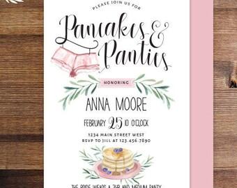 pancakes panties lingerie shower invitations bachelorette party hens party classy lingerie invitations watercolor bridal brunch