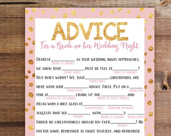 Wedding Night Mad Lib   Bachelorette Party Printable Game   Advice for the Bride on her Wedding Night   Download and Print   Printable Game