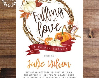 autumn bridal shower invite printable invitation or printed falling in love fall leaves fall wedding shower bridal shower red