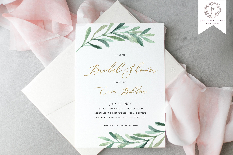04c6ebb3150b5c Greenery Bridal Shower Invitation Laurel Leaf Greenery