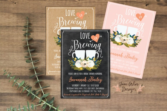 d3e6a230b518 Love is Brewing Bridal Shower Invitation Printable PDF or