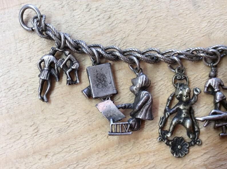 CORO Vintage Signed Silvertone Religious Themed Charm Bracelet