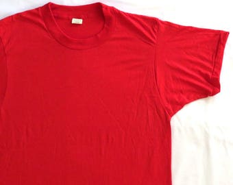 80's Vintage T Shirt Blank Red Screen Stars Undershirt NOS Deadstock