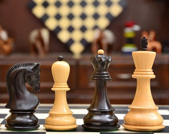 "Russian Zagreb Staunton Chess Pieces in Ebony Wood/ Box Wood - 3.8"" King SKU: S1278"