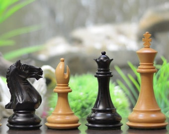 "Fierce Knight Staunton Series Weighted Chess Pieces in Ebony & Box Wood - 4.0"" King. SKU: M0058"