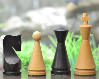 "The Classic Series Cone Shaped Chess Pieces in Stained & Box Wood - 4.09"" King. SKU: M0040"