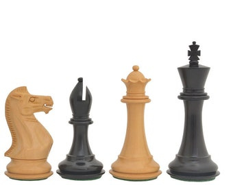 "The Staunton Series Weighted Wooden Chess Pieces in Ebony & Box Wood - 4.0"" King made in India.SKU: D0125"