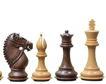 "The Bridle Knight Series Wooden Chess Pieces in Shesham & Box Wood - 4.0"" King. SKU: M0050"
