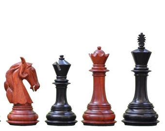 Triple Weighted Colombian chess set Rare Bud Rose/Ebony Wood 4 queens Handcarved in India. SKU: S1216
