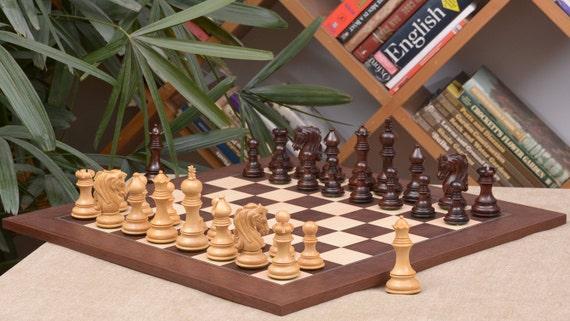 "Combo of Fierce Knight Sheesham Chess Pieces /& Walnut Maple Chessboard 3.0/"""